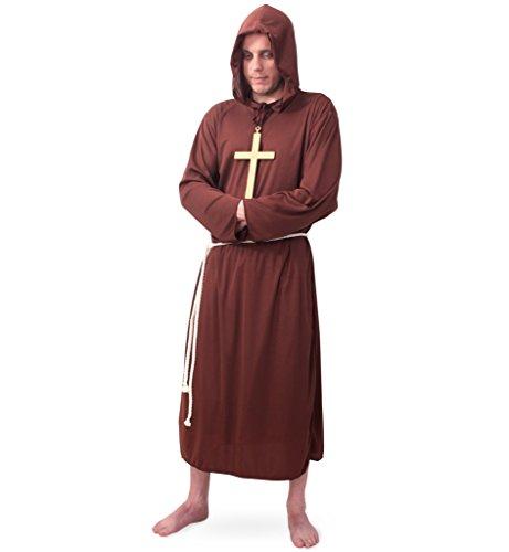 (Mönch Kostüm-Set mit Kreuzkette (L))