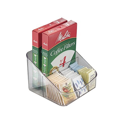 mDesign Coffee Supply Organizer for Filters, Beans, Sugar, Creamer, Tea Bags - Clear by MetroDecor