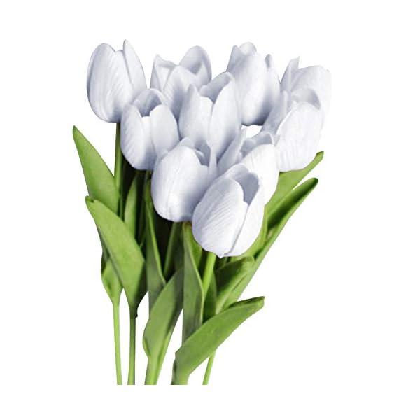 NAttnJf 10 Unids/Set Flores de Tulipán Artificial Inicio Banquete de Boda Oficina Hotel Café Decoración Regalo Proposición Fotografía White