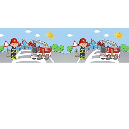 Livingstyle & Wanddesign Vlies Bordüre selbstklebend fürs Kinderzimmer Wandtattoo Feuerwehr