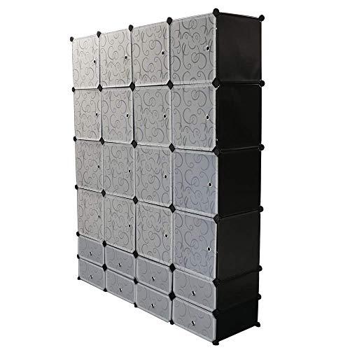 PrimeMatik - Armario Organizador Modular Estanterías de 24 Cubos de 35x35cm 17x35cm plástico Negro con Puerta y d