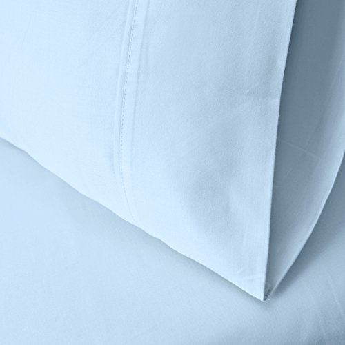 Superior 100% Premium Long-Staple Combed Cotton 300 Thread Count 178 x 229 cm Waterbed 4-Piece Sheet Set, Deep Pocket, Single Ply, Solid, Light Blue