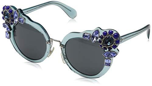 Miu Miu Damen 0MU04SS VAA1A1 52 Sonnenbrille, Türkis (Transparent Azure/Grey),