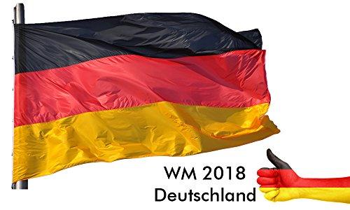 ZAKER Hochwertige WM 2018 Deutschland Flagge Fahne Deutschlandfahne Deutschlandflagge 90x150cm, Schwarz Rot Gold Fahne Zum Aufhängen mit Metallösen