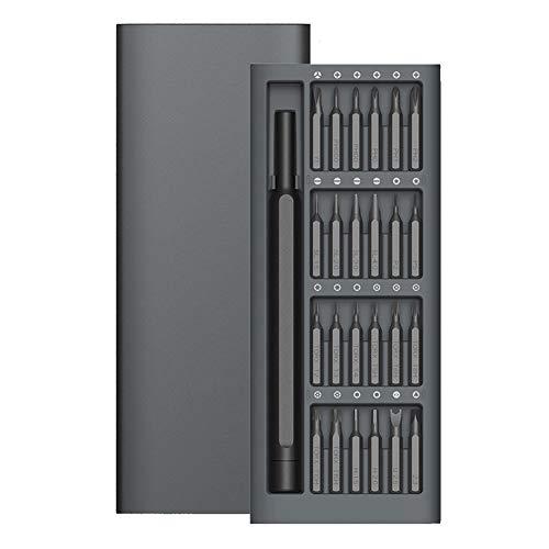 KDLBO Schraubendreher Täglicher Gebrauch 24 Präzisions-Magnetbohrer Aluminium-Schraubendreher-Satz Schlitz-Magnet-Feinschraubendreher-SatzA