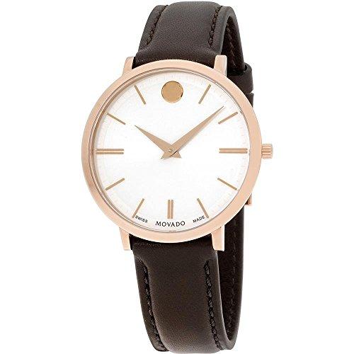 Movado Ultra Slim Montre bracelet Femme 35mm Bracelet Cuir Marron Batterie 607093
