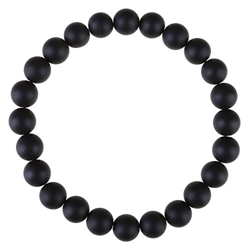 Zysta Schmuck Damen Herren 8mm Energiearmband Kugeln Perlen aus Natur Edelstein Armband Gebet Stretch Energie Armbänder (Matt Schwarz Achat)