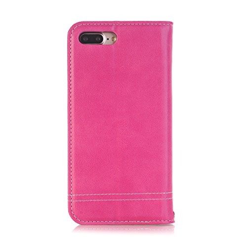 Hülle für iPhone 7 Plus, Tasche für iPhone 7 Plus, Case Cover für iPhone 7 Plus, ISAKEN Farbig Blank Muster Folio PU Leder Flip Cover Brieftasche Geldbörse Wallet Case Ledertasche Handyhülle Tasche Ca Fadenkreuz Knopf Rosa