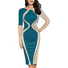 vestidos largos de fiesta mujer, Sannysis vestidos de noche Ultra Vestido de Bodycon Básico Retro Cocktail Dress Mujer Ronda cuello de Casual Vestido telas por metro para vestidos slim