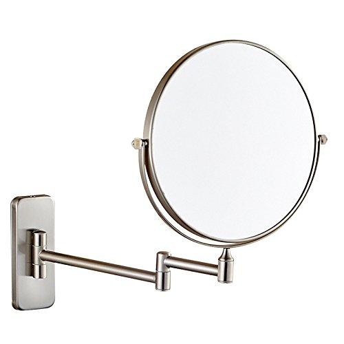 Kosmetikspiegel Europäischer Stil Kreativ Badezimmer Doppelseitig Faltbar Wandbehang Schminkspiegel Kosmetikspiegel Versenkbar Rasierspiegel,Brushed-6in(5X)