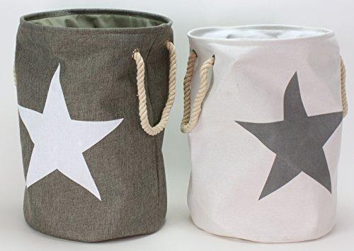 Bada Bing 2er Set Wäschesack Stern Wäschekorb Laundry Star Style Vintage (weiß/grau)