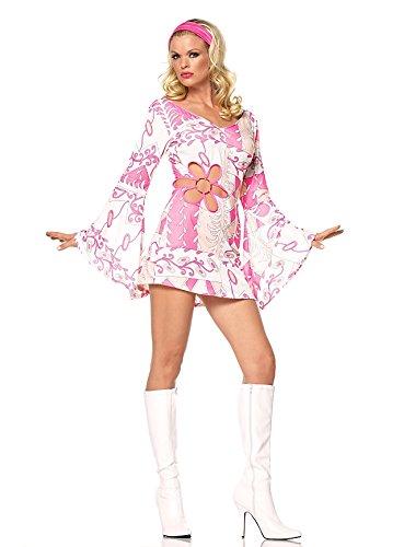 Sexy Adult Hippie Kostüm - Leg Avenue - 2-teilig - Retro Hippie Kleid - XS - Pink/Weiß - 83340