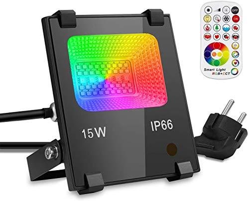 GIM RGB 15W LED Strahler Mit Fernbedienung 120 Farben 4 Modi Objektbeleuchtung LED Fluter Flutlichtstrahler, IP66 Wasserdicht LED Flutlicht, Aluminium Außen Scheinwerfer, Garten Stimmungslichter