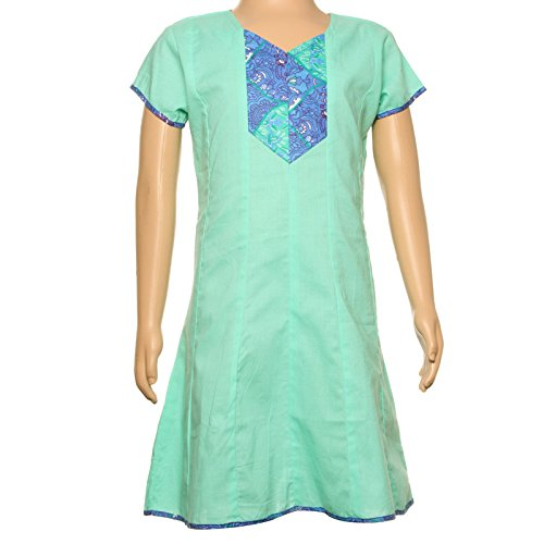 eSTYLe Girls Mello Green Cotton Anarkali Kurti With Printed Yoke  available at amazon for Rs.345