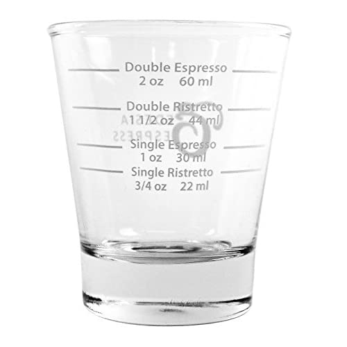 White Lined Espresso Shot Glass Measure for Coffee Espresso Machines – 85ml – by EDESIA ESPRESS