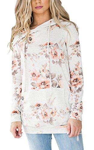 Club Womens Zip Hoodie (Angashion Damen Hoodies Langarm Kapuzenpullover-Blumenmuster Casual Sweatshirt Pullover Bluse Oberteile- Gr. EU L(38), 0965 Weiß)