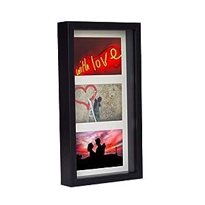 BD ART 18 x 35 cm 3D Box Mehrfach Bilderrahmen Schwarz, Bildergalerie, Fotogalerie mit Passepartout und 3 Foto-Ausschnitten für Fotos 10 x 15 cm, Glasscheibe, Tief 3 cm