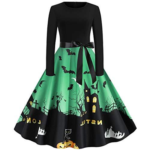 XINAINI Halloween Kleid Damen Maxikleider Schlanke Lange ÄRmel,Rockabilly Elegante Langarm Trompete KüRbis Spinne 3D Gedrucktes,Halloween KüRbis Fledermaus Burg 3D Print Kleid