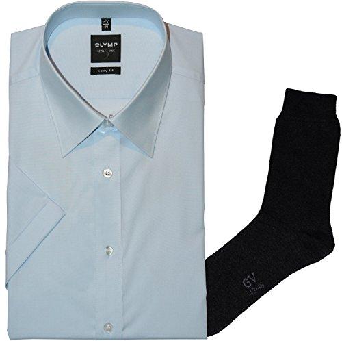 OLYMP Herrenhemd LEVEL FIVE, Body fit, kurzarm, New York Kent, bleu + 1 Paar hochwertige Socken, Bundle Bleu