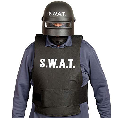 Swat Kostüm Spezialeinheit - NET TOYS SWAT-Helm für Erwachsene | Schwarz-Weiß | Außergewöhnliches Männer-Kostüm-Zubehör Spezialeinheit | Perfekt angezogen für Fasching & Karneval