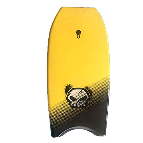 FXQIN Body Board Kinder Skimboards Surfbrett, Leichte Bodyboards, Slick Hard Bottom Body Surfing Bodyboard, Mit Eps Core, Ixpe Deck, 33inch, Gelb