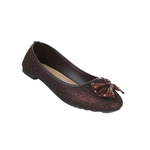 Damen Schuhe Ballerinas Pailetten Besetzte Pumps Braun