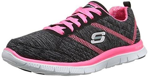 Skechers Flex Appeal Pretty City, Chaussures de Fitness femme, Noir (Noir/Rose), 41 EU (8 UK)