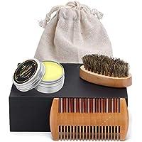 Set de Cuidado de Barba, Rockoala Peine + Cepillo + Bálsamo de Barba 30 g,Juego de regalo perfecto para hombres