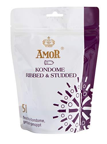 """AMOR\""""Gerippt und Genoppt\"""" 50er Pack Premium Kondome mit strukturierter Oberfläche, gefühlsecht und extra feucht"""