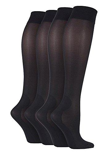 Sock Shop IOMI Fuß Krankenschwester - 2 Paar Damen abgestufter Kompression über dem Knie Energising Socken 39-45 (37-42 Eur, Schwarz) (Krankenschwester Knie-hohe Kompressions-socken)