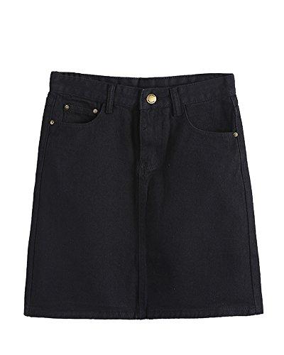 Damen Elegant Atmungsaktiv Hohe Taille A Linie Jeansrock Mini Bleistift Kurz Rock Schwarz 2XL - Hohe Taille Mini