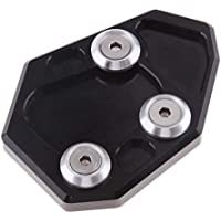 B Blesiya 1 Psc Placa de Extensión Kickstand de Motocicleta Aleación de Aluminio Recambio - Negro