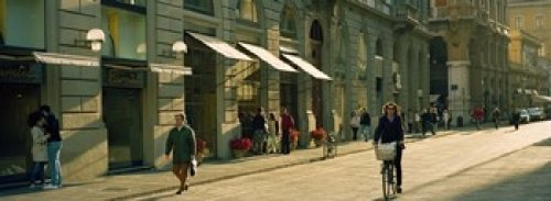 The Poster Corp Panoramic Images - Cyclists and pedestrians on a street City Center Florence Tuscany Italy Photo Print (91,44 x 33,02 cm) - Florence City Center