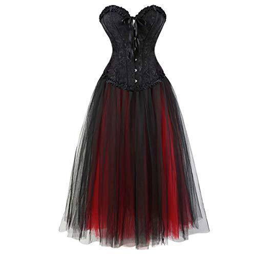 Damen Vollbrust Corsage Korsett Kleid lang Steampunk Corsagenkleid Rock viktorianisch schnürmieder sexy Schwarz rot 2XL