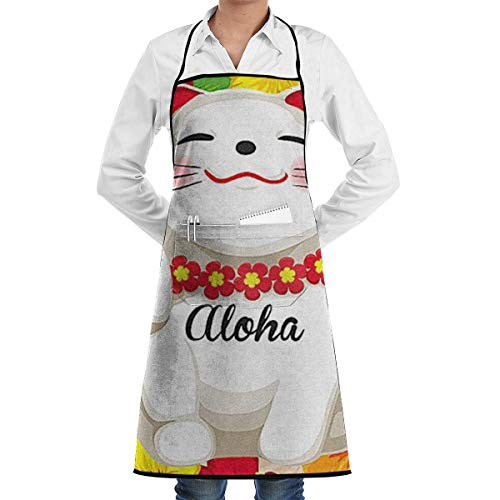 Hawaii-schürze (SDGSS with Pocket Schürze,Hawaii Aloha Lucky Cat Adjustable Apron for Kitchen Garden Cooking Grilling Women's Men's Great Gift for Wife Ladies Men Boyfriend)