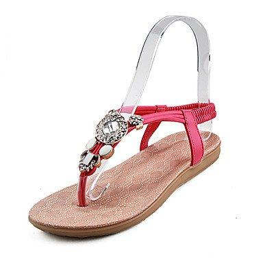 LvYuan Damen-Sandalen-Büro Kleid Lässig-PU-Flacher Absatz-Komfort-Schwarz Rot Weiß Red
