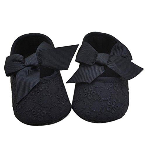 pour 0-18 mois Bébé, Amlaiworld Chaussures Bébés filles bowknot mous (12/6-12 m, Noir) Noir