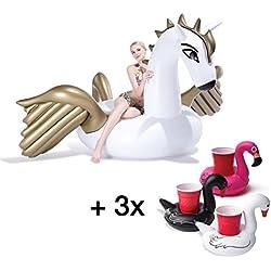 XXL Set - 1x oro / blanco Pegasus inflable realista para piscina, lago, la playa y la piscina de natación en aguas animales cama de aire y portavasos 3x, titular de la botella del pelícano en rosa, blanco, negro (Pegasus)