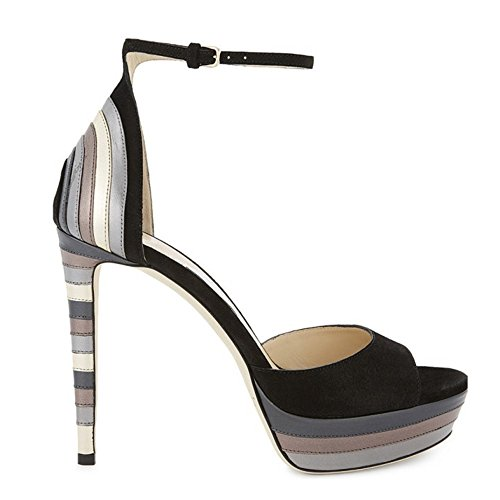 TAOFFEN Femmes Mode Aiguille Peep Toe Sandales Talons Hauts Plateforme Sangle De Cheville Chaussures Noir