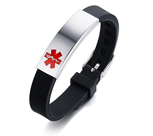 7e45f8e6ee6e VNOX Stainless Steel Silicone Personalised Medical Alert ID Bracelet Sos  Emergency for Men Women Adjustable