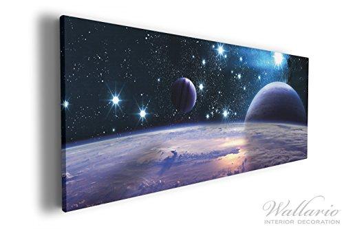 Wallario XXXL Riesen- Leinwandbild Planeten im Weltall - 80 x 200 cm in Premium-Qualität: Brillante...