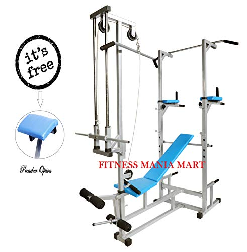 FITNESS MANIA ABS Tower with Multipurpose 20 in 1 Bench (Rectangle Pipe 2x2 INCH) Silver