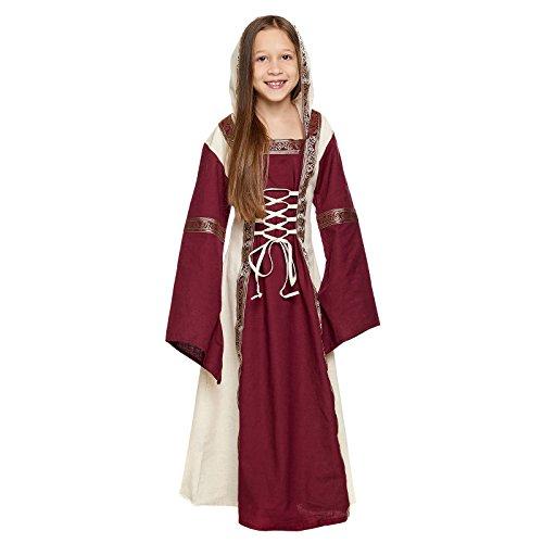 Elbenwald Mittelalter Kinder Kleid Saphiria mit Kapuze Front- und Rückenschnürung rot Natur - 12/14 - Kelten Kostüm Kinder