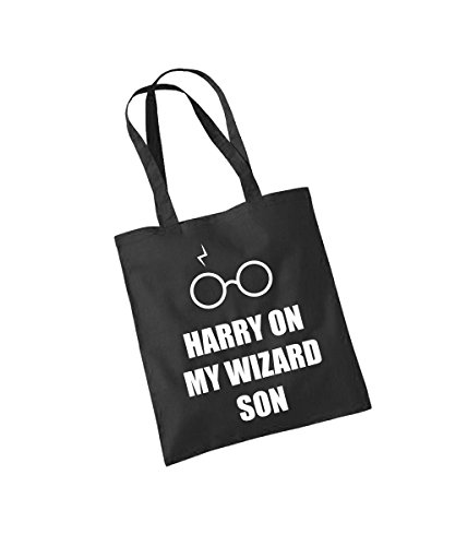 -- Harry On My Wizard Son -- Baumwolltasche Schwarz, langer Henkel