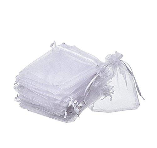 100 Pcs Bolsas de Organza blanca 8 x 10CM de Regalo, Caramelo, Joyería, Chocolate, Jalea para Decoración Del Banquete Boda Fiesta Blanco