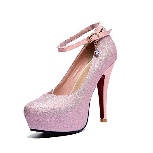 VogueZone009 Femme Matière Mélangee à Talon Haut Rond Boucle Chaussures Légeres Rose