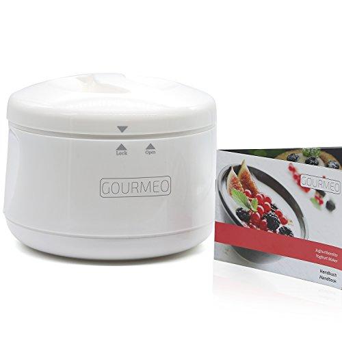 GOURMEO Joghurt-Bereiter ohne Strom,1Liter, inkl. Handbuch mit Rezeptideen für Natur-Joghurt, Soja-Joghurt | Joghurt-Gefäß, - Glas Joghurt-gläser