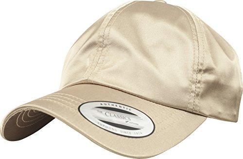 Flexfit Low Profile Satin Cap Unisex Kappe für Damen und Herren aus glänzendem Satin Stoff gold