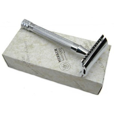 Merkur 23C Long Handle Chrome Plated DE Safety Razor (one razor blade included)