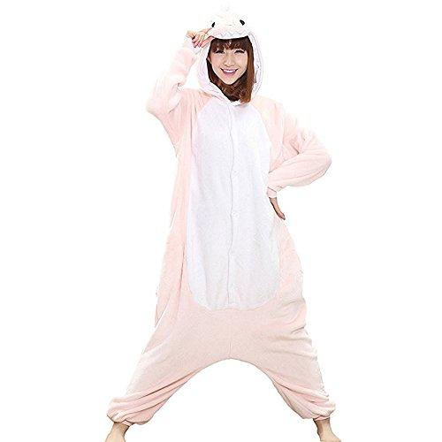 Unisex Onesie Pyjamas Overall Einteiler/Pyjama Schlafanzug Für Erwachsene Rosa Dinosaurier (Kostüme Dinosaurier Rosa)